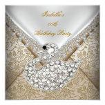 Cumpleaños elegante blanco del damasco beige del invitaciones personalizada