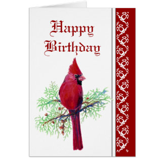 Cumpleaños elegante, cardenal, pájaro, naturaleza tarjeta de felicitación