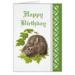 Cumpleaños elegante, conejo de conejito lindo tarjeta