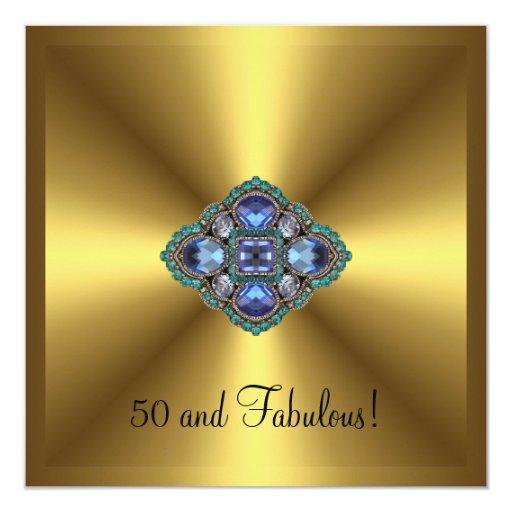 Cumpleaños elegante de la 50.a joya azul fabulosa comunicados