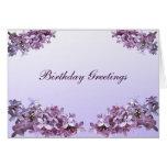 Cumpleaños elegante de las lilas felicitacion