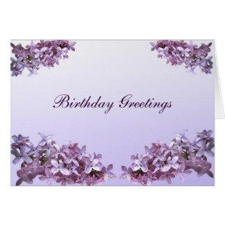 Cumpleaños elegante de las lilas tarjeta de felicitación
