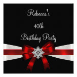 Cumpleaños elegante del arco 40.o blancos rojos ne comunicado