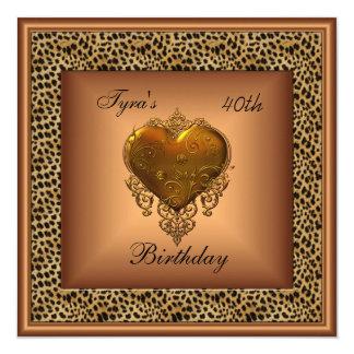 Cumpleaños elegante del corazón del oro de bronce invitacion personal