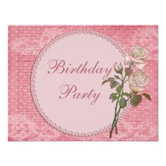 Cumpleaños elegante lamentable de las perlas y de invitaciones personales