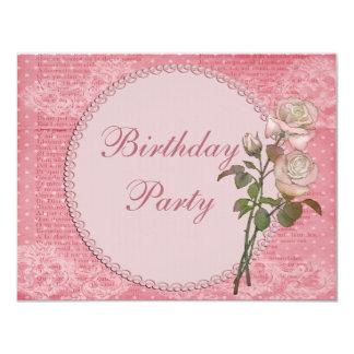 """Cumpleaños elegante lamentable de las perlas y de invitación 4.25"""" x 5.5"""""""