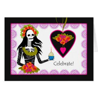 Cumpleaños en Dia de los Muertos, esqueleto, Tarjeta De Felicitación