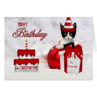Cumpleaños en gato y la torta de la Nochebuena Felicitacion