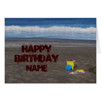 Cumpleaños en la tarjeta de la playa