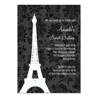 Cumpleaños en París (negro) Invitación Personalizada