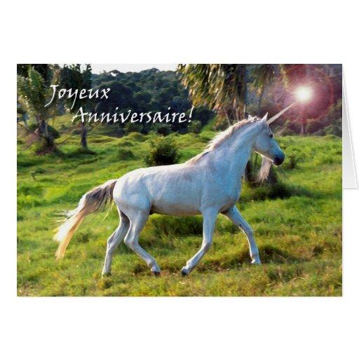 Cumpleaños en unicornio francés, mágico tarjeta de felicitación