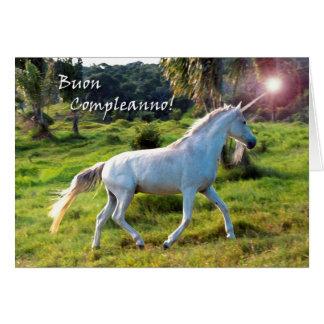 Cumpleaños en unicornio italiano, mágico tarjeta de felicitación