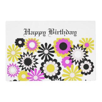 Cumpleaños, estera de lugar de papel, floral, tapete individual