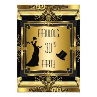 """Cumpleaños fabuloso 4D retro de Gatsby Tophat del Invitación 5"""" X 7"""""""