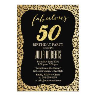 """Cumpleaños fabuloso 50 del estampado leopardo invitación 5"""" x 7"""""""
