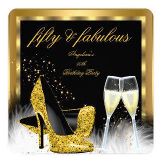 """Cumpleaños fabuloso de 50 del oro tacones altos de invitación 5.25"""" x 5.25"""""""
