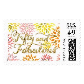 Cumpleaños fabuloso del brillo cincuenta florales sello postal