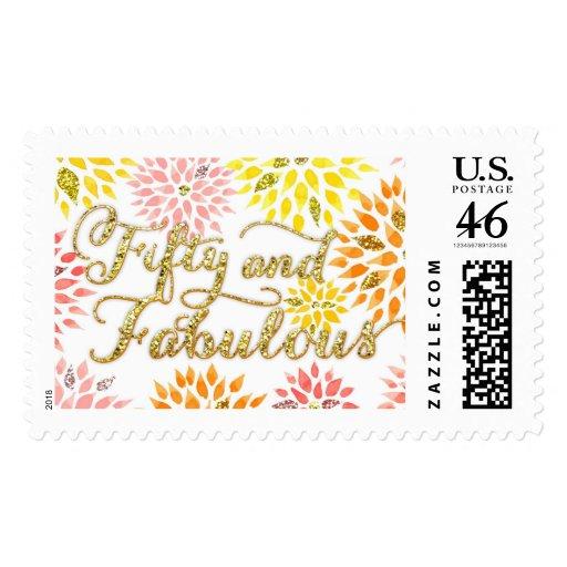 Cumpleaños fabuloso del brillo cincuenta florales  franqueo