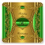 Cumpleaños fabuloso del oro verde elegante de la c invitaciones personales