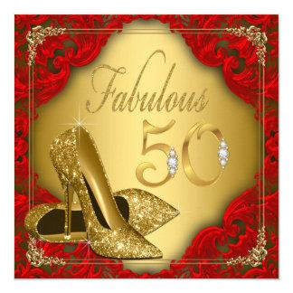 """Cumpleaños fabuloso del tacón alto rojo de lujo invitación 5.25"""" x 5.25"""""""