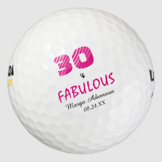 Cumpleaños fabuloso treinta el suyo personalizado pack de pelotas de golf