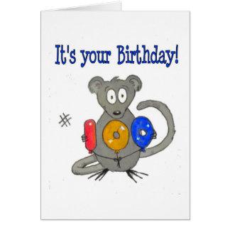 Cumpleaños feliz 100 del ratón tarjeta de felicitación