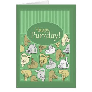 Cumpleaños, feliz cumpleaños, gato, ronroneo lindo tarjeta de felicitación