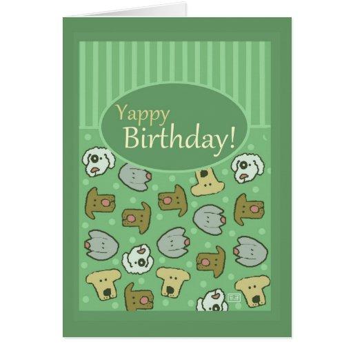 Cumpleaños, feliz cumpleaños, perro, Yappy, lindo Tarjeta De Felicitación