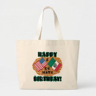 Cumpleaños feliz de Cinco de Mayo Bolsa De Tela Grande
