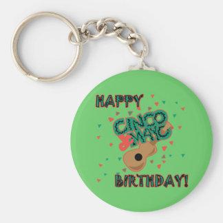 ¡Cumpleaños feliz de Cinco de Mayo! Llavero Redondo Tipo Pin