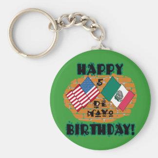 Cumpleaños feliz de Cinco de Mayo Llavero Redondo Tipo Pin