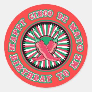 ¡Cumpleaños feliz de Cinco de Mayo! Etiqueta Redonda