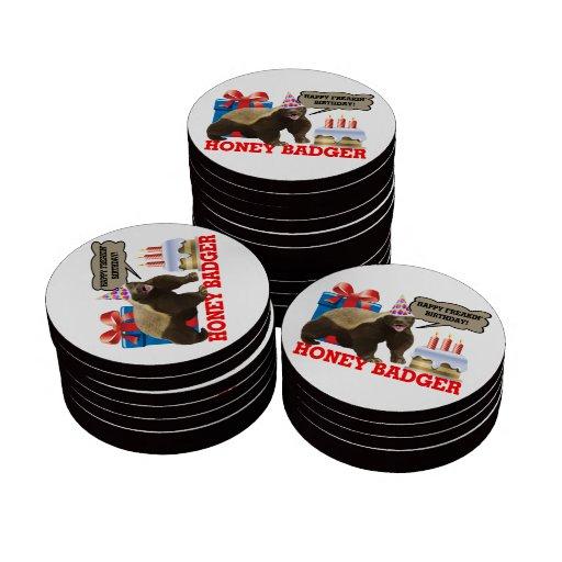 Cumpleaños feliz de Freakin del tejón de miel Fichas De Póquer