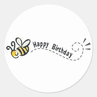 ¡Cumpleaños feliz de la abeja! Pegatina Redonda