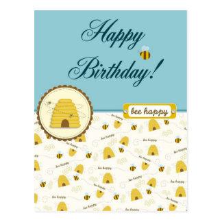 ¡Cumpleaños feliz de la abeja! Tarjeta Postal