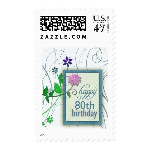 Cumpleaños feliz de la flor de la diversión 80.o timbres postales