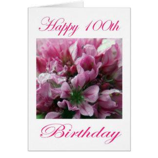 Cumpleaños feliz de la flor rosada y verde 100o tarjeta de felicitación