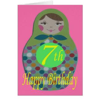 Cumpleaños feliz de la muñeca rusa 7mo tarjeta de felicitación