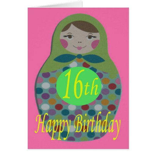 Cumpleaños feliz de la muñeca rusa décimosexto tarjeta de felicitación