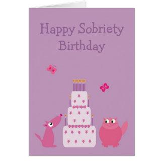 Cumpleaños feliz de la sobriedad tarjeta de felicitación