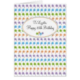Cumpleaños feliz de las flores minúsculas 35to tarjeta de felicitación