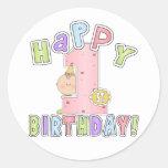 Cumpleaños feliz de los chicas 1r etiqueta redonda