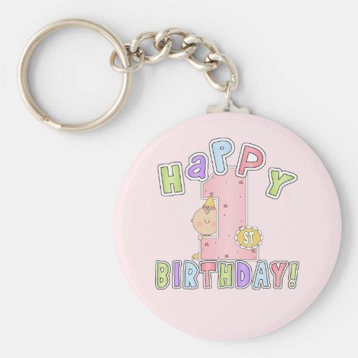 Cumpleaños feliz de los chicas 1r llavero personalizado