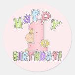 Cumpleaños feliz de los chicas 1r etiquetas redondas