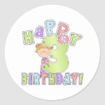 Cumpleaños feliz de los chicas 3ro pegatina redonda