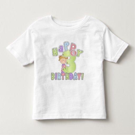 Cumpleaños feliz de los chicas 3ro playera de bebé