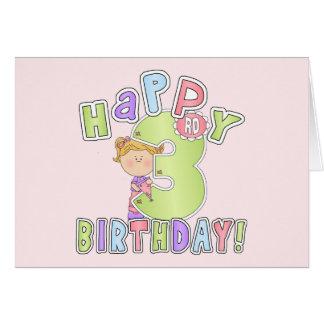 Cumpleaños feliz de los chicas 3ro tarjetón