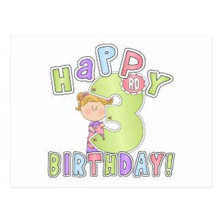 Cumpleaños feliz de los chicas 3ro tarjeta postal