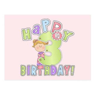 Cumpleaños feliz de los chicas 3ro postal