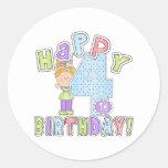 Cumpleaños feliz de los chicas 4to etiquetas redondas
